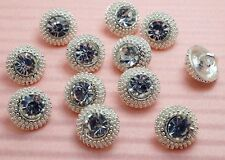 15 Sparkling 10mm Crystal Rhinestone Silver Metal Sewing Buttons S616