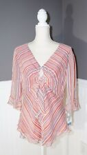 NWT Nine West Size 10 Silk Striped V-Neck Top Ruffle Front 3/4 Bell Sleeve