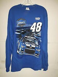 Jimmie Johnson # 48 Nascar Blue Lowes Long Sleeve T-shirt, XL