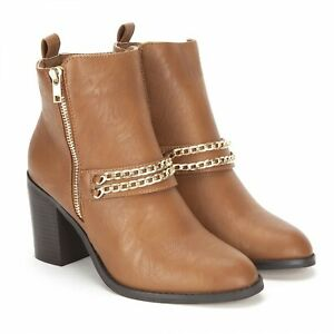 Koi Couture Tan Ladies Ankle Boots Gold Chain Inner Zip Brand New In Box