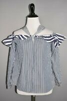 J.CREW $68 3/4 Sleeve Striped Off The Shoulder Tie-Neck Top Size 0