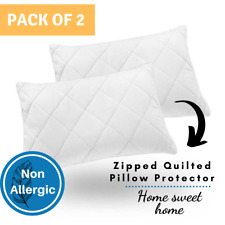 Luxury Hotel Quality Zipped Quilted Soft Pillow Protectors Cover-Pack of Two (2)