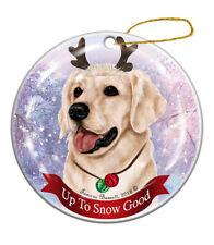 Holiday Pet Gifts Golden Retriever White Dog Porcelain Christmas Ornament