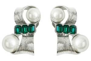 Toga Archives X H&M HM Clip Earrings Green Silver New