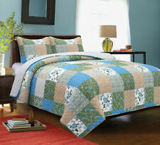 "3 Piece QUEEN ""COUNTRY GARDEN"" Quilted Bedding SET ~ Country, Primitive, Vintage"