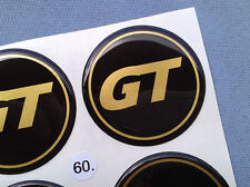 (GT60SG) 4x GT Embleme für Nabenkappen Felgendeckel 60mm Silikon Aufkleber