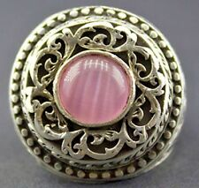 Sterling silver men ring handmade, pink quartz natural gemstone, steel pen craft