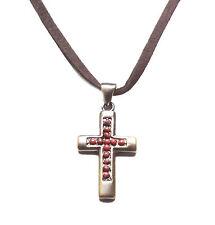 Marrón Tradicional, Bronce Antiguo Collar Colgante de cruz de piedra y rojo (Zx90)