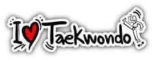 "I Love Taekwondo Slogan Car Bumper Sticker Decal 8"" x 3"""
