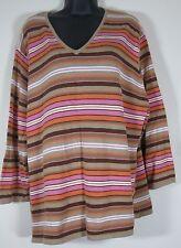 Norton Studio Women Brown Pink Stripe Knit Sweater V Neck LS Plus Size 3X 3 X