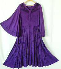 New Holy Clothings Dress Maxi Swing Wing Sleeve Purple Embroidery Size XL/1XL