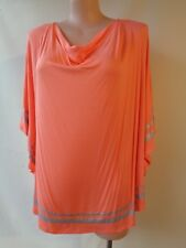 Autograph size 22 silver trim coral 3/4 sleeve long top NWT