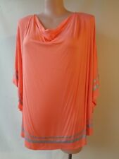 Autograph top size 24 silver trim coral 3/4 sleeve long top NWT