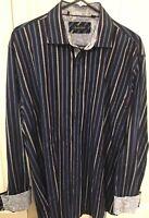 Zagiri Mens Long Sleeve Button-Front Shirt flip cuffs blue striped SIZE 2XL XXL