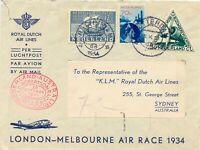NETHERLANDS 1934 KLM Special Flight LONDON - MELBOURNE AIR RACE route to SYDNEY