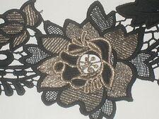 "2 yards in 4 1/2"" width black color eavy crochet cotton trim/ novelty trims"