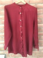 J Jill 100% Silk Size XL Tunic Blouse Long Sleeve Button Front Red