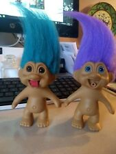 Lot of 2 T.N.T.1991 Trolls Teal Brown Purple Blue Stick Out Tongues Don't work