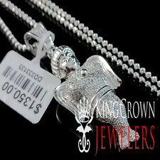 Real Diamond White Gold Finish Mini Angel Piece Pendant Charm Chain Set 0.90 ctw