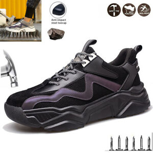 Men Lightweight Safety Shoes Trainers Women Steel Toe Work Boots Hiking Sneakers