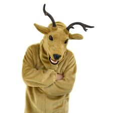 Elk Mascot Costume Fursuit Animal Mask Move Mouth Cosplay Fancy Dress Adult Suit