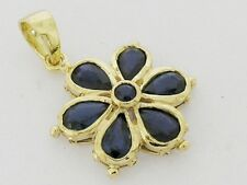 PE038 Genuine 9ct SOLID Gold NATURAL Sapphire DAISY Pendant Flower Blossom