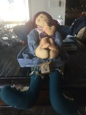 Primitive Shelf Sitter Angel With Kitty Doll