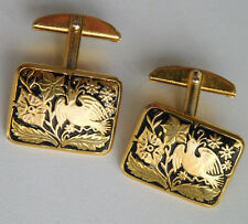 Hinged cufflinks Birds and flowers picture black and gold colour Men or ladies