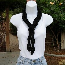 Solid Black Summer Scarf, Skinny Small Narrow Women's Lightweight Crochet Knit