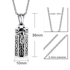 Stainless Steel Cylinder Cremation Keepsake Memorial Urn Necklace For Family Pet