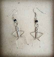 African Maasai Warrior Silver Coloured Recycled Copper Wire Earrings from Kenya
