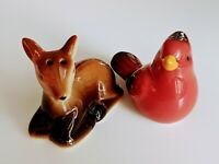 Salt and pepper shakers vintage Deer And Cardinal Fawn