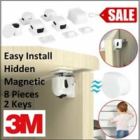 Magnetic Safety Invisible Cupboard Lock Baby Proofing Drawer Security 8PC