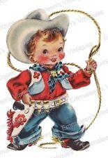 Vintage Image Shabby Retro Little Cowboy Buckaroo Waterslide Decals KID479