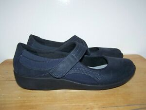 CLARKS Cloudsteppers Navy Blue Leather Mary Janes Womens Comfort Shoes UK-7EU-41