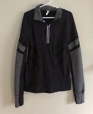 Ivivva Long Sleeve 1/4 Zip Pullover Athletic Top Black Gray Herringbone  Size 8