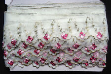 3 3/4 inch wide embroidery tulle lace trim  selling by the yard