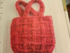 Knitting Pattern Girls Womens Bag Lattice Pattern Chunky Vintage
