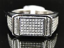 Mens White Gold Finish Round Cut Diamond Pave Designer Pinky Band Ring .50 Ct