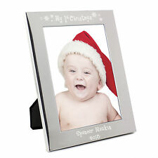 Personalised Silver My 1st Christmas 5x7 Photo Frame - Engraved Free - Baby