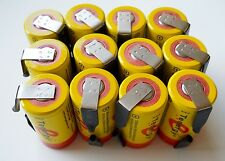 12 Tenergy SC 20300 NiCd Sub C 2200 mAh Batteries with factory installed tabs
