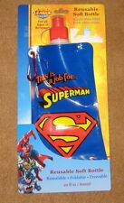 Superman Reusable Soft Water Bottle Freezable Stands Full &  Folds Empty