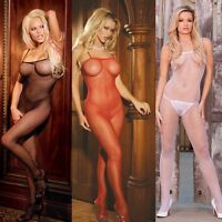 Plus Size Lingerie One Sz Queen Black Red or White Fishnet Bodystocking  EM1605Q