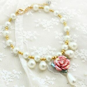 Adjustable Handmade New Pet Accessories Luxury Pearl Necklace Pink Rose Pendant