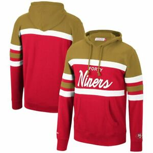 San Francisco 49ers Mitchell & Ness COACHES THROWBACK Pullover Hoodie- Gold/Red