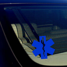 2 Star of Life Ambulance EMT EMS Rescue Paramedic Blue Reflective Decal Stickers