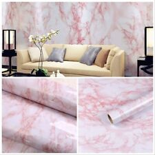 """17.7""""x78.7"""" Self-Adhesive White/Pink Marble Removable Wallpaper Decor Decals"""