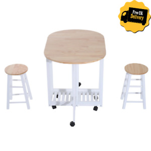 Small Kitchen Dining Table and Chair Set Folding Island Stools Breakfast Trolley