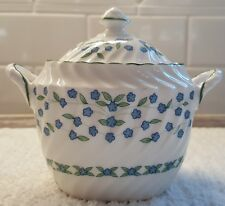 Aynsley Bone China England Forget Me Not Covered Sugar
