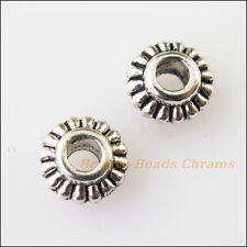 70Pcs Antiqued Silver Tone Tiny Gear Flower Spacer Beads Charms 6mm